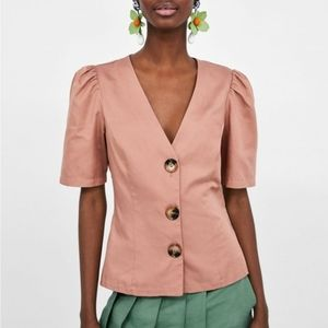NWT Zara Woman Button Up Puffy Sleeve V-Neck Med
